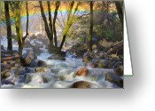 Veil Greeting Cards - Rainbow  From Mist At Bridalveil Falls Greeting Card by Marc Crumpler