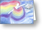 Magic Pastels Greeting Cards - Rainbow Goddess Greeting Card by Cassandra Geernaert