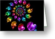 Rainbows Greeting Cards - Rainbow Heart Wheel on Black Greeting Card by Pam Blackstone