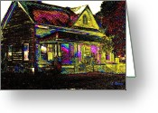 Abandoned Houses Digital Art Greeting Cards - Rainbow House Greeting Card by Leslie Revels Andrews