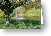 White River Scene Greeting Cards - Rainbow in the Park Greeting Card by Georgia Fowler
