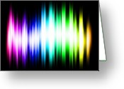 Wave Greeting Cards - Rainbow Light Rays Greeting Card by Michael Tompsett