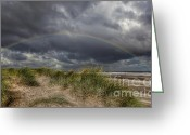 Flintshire Greeting Cards - Rainbow Lighthouse Greeting Card by Adrian Evans