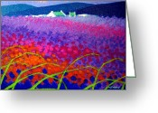 Stripes Greeting Cards - Rainbow Meadow Greeting Card by John  Nolan
