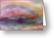 Mood Mixed Media Greeting Cards - Rainbow Ocean Greeting Card by Carol Cavalaris