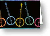 Instruments Mixed Media Greeting Cards - Rainbow of Banjos Greeting Card by Jenny Armitage