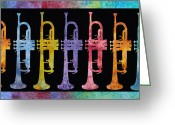 Horns Greeting Cards - Rainbow of Trumpets Greeting Card by Jenny Armitage