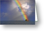Williams Greeting Cards - Rainbow on Birdrock- St Lucia. Greeting Card by Chester Williams