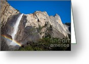 Yosemite Creek Greeting Cards - Rainbow on Bridalveil Fall Greeting Card by Olivier Steiner
