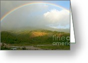 Raining Greeting Cards - Rainbow over Boquete Greeting Card by Heiko Koehrer-Wagner