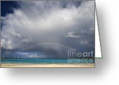 Beach Scenery Photo Greeting Cards - Rainbow Over Emerald Bay Greeting Card by Dennis Hedberg