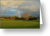 Tropical Golf Course Greeting Cards - Rainbow over Princeville Greeting Card by Lynn Bauer