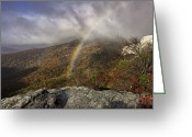 Blue Ridge Photographs Greeting Cards - Rainbow over Rough Ridge - NC Autumn Scene Greeting Card by Rob Travis