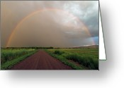 Dirt Road Greeting Cards - Rainbow Greeting Card by Pat Gaines