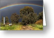 Gray Sky Greeting Cards - Rainbow Greeting Card by Photostock-israel