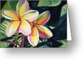 Flower Greeting Cards - Rainbow Plumeria Greeting Card by Marionette Taboniar
