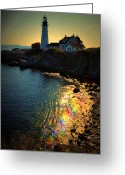 Portland Head Light Greeting Cards - Rainbow Portland Greeting Card by Emily Stauring