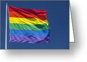 Gay Rights Greeting Cards - Rainbow Pride Flag Greeting Card by Stuart Dee
