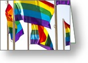 Gay Rights Greeting Cards - Rainbow Pride Flags Against White Background Greeting Card by Stuart Dee