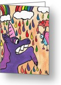 Pouring Greeting Cards - Rainbow Rainshower Greeting Card by Jera Sky