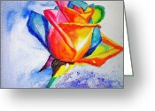 Carlin Greeting Cards - Rainbow Rose Greeting Card by Carlin Blahnik