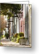 Historic Lighthouse Greeting Cards - Rainbow Row Charleston SC 2 Greeting Card by Dustin K Ryan