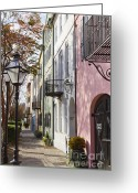 Historic Greeting Cards - Rainbow Row Charleston SC 3 Greeting Card by Dustin K Ryan