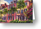 Palm Trees Greeting Cards - Rainbow Row Charleston Sc Greeting Card by Jeff Pittman