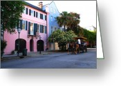 Bess Greeting Cards - Rainbow Row Charleston Greeting Card by Susanne Van Hulst