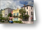 Low Country Greeting Cards - Rainbow Row II Greeting Card by Drew Castelhano