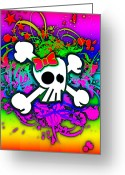 Roseanne Jones Greeting Cards - Rainbow Skull 1 of 6 Greeting Card by Roseanne Jones