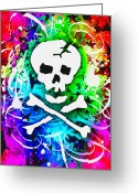 Roseanne Jones Greeting Cards - Rainbow Skull 3 of 6 Greeting Card by Roseanne Jones