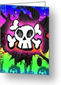 Roseanne Jones Greeting Cards - Rainbow Skull 5 of 6 Greeting Card by Roseanne Jones