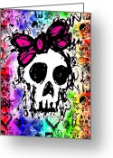 Roseanne Jones Greeting Cards - Rainbow Skull 6 of 6 Greeting Card by Roseanne Jones