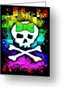  Digital Collage Digital Art Greeting Cards - Rainbow Skull Greeting Card by Roseanne Jones