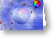 Rainbows Greeting Cards - Rainbow Sphere on Blue Lake Greeting Card by Pam Blackstone