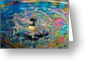 Liquid Greeting Cards - Rainbow Splash Greeting Card by Anthony Sacco