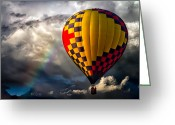 Balloon Greeting Cards - Rainbow Sunset Greeting Card by Bob Orsillo