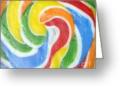 Biting Greeting Cards - Rainbow Swirl Greeting Card by Luke Moore