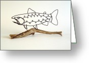 Fishing Sculpture Greeting Cards - Rainbow Trout Greeting Card by Bud Bullivant
