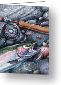 Shore Painting Greeting Cards - Rainbow Trout Greeting Card by JQ Licensing