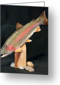 Fishing Sculpture Greeting Cards - Rainbow Trout on Maple 15 Greeting Card by Eric Knowlton