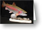 Fishing Sculpture Greeting Cards - Rainbow Trout on the Rocks Greeting Card by Eric Knowlton