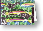 Street Art Drawings Greeting Cards - Rainbow Trout School Greeting Card by Robert Wolverton Jr