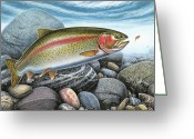 Trout Stream Greeting Cards - Rainbow Trout Stream Greeting Card by JQ Licensing