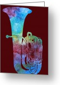 Horns Greeting Cards - Rainbow Tuba Greeting Card by Jenny Armitage