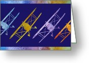 Bi Plane Greeting Cards - Rainbow Wing Greeting Card by Jenny Armitage