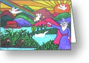Wizard Drawings Greeting Cards - Rainbow Wizardry Greeting Card by Monica Engeler