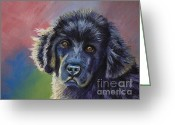 Dogs Pastels Greeting Cards - Rainbows and Sunshine - Newfoundland Puppy Greeting Card by Michelle Wrighton