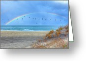 Acrylic Framed Greeting Cards - Rainbows and Wings I Greeting Card by Dan Carmichael